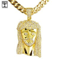 """Jewelry Kay style 14K Gold Plated Iced Out Jesus Pendant 30"""" Heavy Cuban Chain Necklace HC 6002 G"""