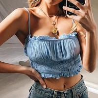 Sexy Ruched Ruffle Short Camis Women Summer Elegant Cool Crop Tops Female Cotton Strap White Tank Top