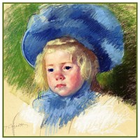 Simone and Her Blue Hat by American Impressionist Artist Mary Cassatt Counted Cross Stitch Pattern