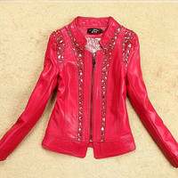 Plus size 5XL leather clothing 2015 spring and autumn female slim women's coats turn-down collar leather jacket women size 5XL