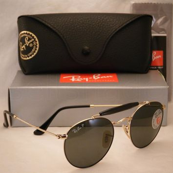 Cheap Ray Ban 3747 Black/Gold w Green Polar Lens NEW sunglasses (RB3747 900058) outlet
