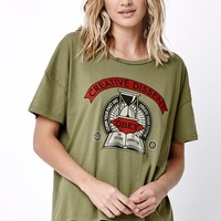 Obey Creative Dissent Cropped Boxy T-Shirt - Womens Tee - Green