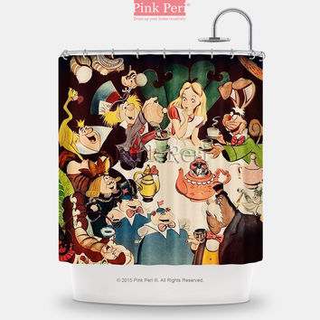Alice Disney Princess Vintage Poster Shower Curtain Free shipping 217