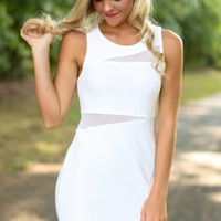 Sheer Winner White Bodycon Dress