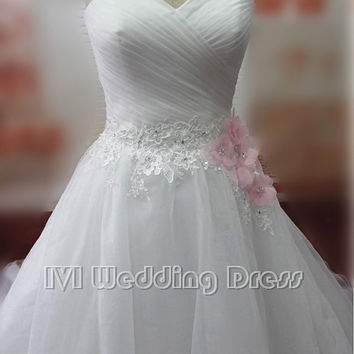 Real Samples Sweetheart A-line Wedding Dresses Chapel Train Bridal Gowns with Lace Appliques