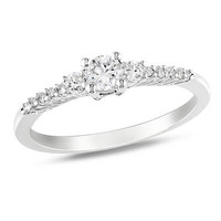 Lab-Created White Sapphire and Diamond Accent Promise Ring in Sterling Silver - View All Rings - Zales