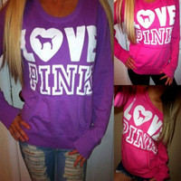 """""""Pink"""" Victoria's Secret Loose Long Sleeve Shirt Pullover Sweater Blouse Top"""