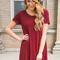 Streets Of Rome Simple Burgundy Dress