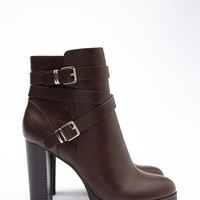 Strappy Faux Leather Booties   Forever 21 - 2000179368