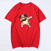 Fashion Casual Men Cartoon Dog Print Tee