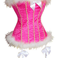 Pink Floral with Lace and Mohair Corset