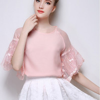 Butterfly Sleeve Organza Pink Top