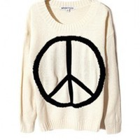 White Knit Sweater with Peace Sign