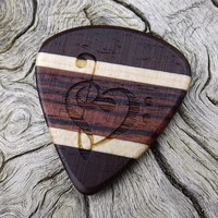 Handmade Multi-Wood Premium Guitar Pick - Actual Pick Shown - Engraved Both Sides - Artisan Guitar Pick