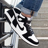NIKE AIR JORDAN 1 Fashion New Hook Women Men High Top Sports Leisure Contrast Color Shoes