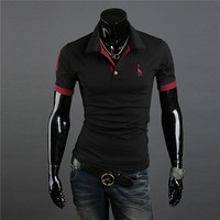 mens casual tops tee v neck polo shirts slim fit short sleeve clothes us m xxxl 10 colors TIML66