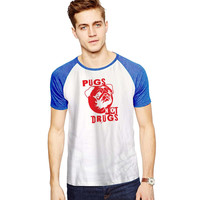 Pugs Not Drugs Red For Short Raglan Sleeves T-shirt, Red Tees, Black Tees, Blue Tees