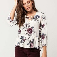 IVY + MAIN Floral Lace Up Womens Top