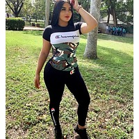 Champion Summer Fashion Women Casual Print Top Pants Trousers Set Two-Piece Sportswear Black