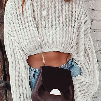 Mellow Yellow Long Lantern Sleeve Crochet Crew Neck Crop Top - 2 Colors Available