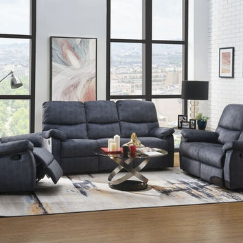 Acme 53980-81 2 pc Saul II blue denim velvet sofa and love seat set with recliner ends