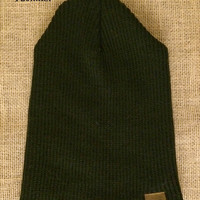 Double layer solid Black knit beanie