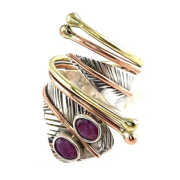 Ruby Double Stone Sterling Silver Adjustable Wrap Ring