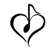 Music Note Heart Car Decal, Computer Decal, Music Note, Turquoise, Blue, Pink, Green, Yellow