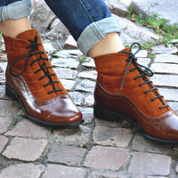 Armada - Womens Fall Boots, Lace-up Leather Boots, Brogue Boots, Chelsea Ankle Boots, Custom boots, FREE customization!!!