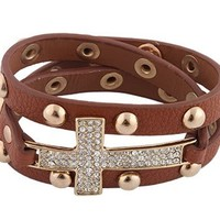2 Pieces of Brown with 2 Pieces of Goldtone Iced Out Cross Adjustable Wrap Snap Bracelet