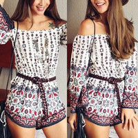 Women's Trending Popular Fashion Summer Floral Printed Sexy Floral Printed Boat Neckline Erotic Shorts Romper  _ 3711
