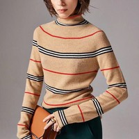 """Burberry"" Women Multicolour All-match Stripe Fashion Turtleneck Letter Logo Classic Long Sleeve Sweater Tops"