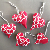 Red doted heart decor Hanging Christmas tree decoration natural fabric ornaments Set of 5