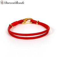 """PU Leather European Style Double Layer Charm Bracelets Red Cord Gold Plated Clasp 19.5cm(7 5/8"""") long, 2 PCs 2016 new"""