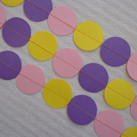 Purple, Pink and Yellow Paper Craft Garland, Circle, 8ft For Valentine, Wedding, Baby Shower, Bridal Shower, Birthday, Party