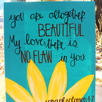 Song of Solomon painting with daisy, on canvas (16x20)
