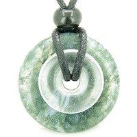 Astrological Capricorn Amulet Double Lucky Donuts Green Moss Agate and Rock Crys