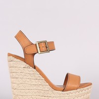 Bamboo Open Toe Ankle Strap Espadrille Wedge