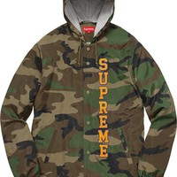Supreme 17ss Vertical Logo Hooded Coaches Jacket S Xl Camo | Best Deal Online