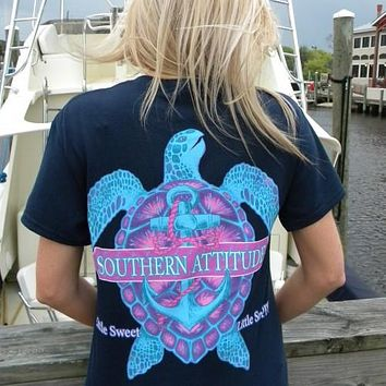 Country Life Outfitters Southern Attitude Snappy Turtle Anchor Bow Navy Vintage Girlie Bright T Shirt