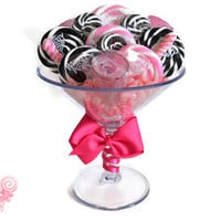 Large Pink and Black Martini Glass full of candy, Edible shot glass lollipops, 21st birthday, twenty first birthday, bachelorette party