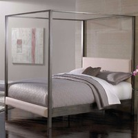 Queen Size Metal Platform Canopy Bed Frame Headboard & Footboard
