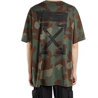 Off-white camouflage printed loose round neck half-sleeved T-shirt