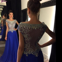 Sequins Beaded Sheer Bodice Sexy Royal Blue Prom Dresses 2016 Long Chiffon Girls Party Gowns