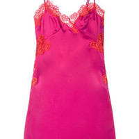 Agent Provocateur Novah lace-trimmed stretch-silk chemise – 50% at THE OUTNET.COM