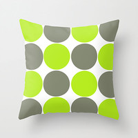 Decorative Pillow Cover,Gray and Lime Green Circles, Neon Throw Pillow Cover, 18x18 inch, Indoor or Outdoor