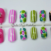 Spring/Easter Fake Press On Nail Set **Comes with nail glue