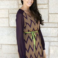 Retro Chevron Day Dress