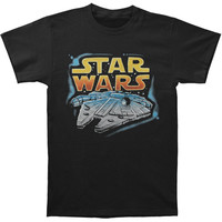 Star Wars Men's  Millenium Falcon Slim Fit T-shirt Black Rockabilia