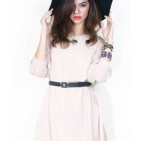 Ribbon Tie Chiffon Babydoll Dress